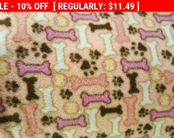 Animal Lovers Dog Bone and Print Fleece Fabric by David Textiles by the yard