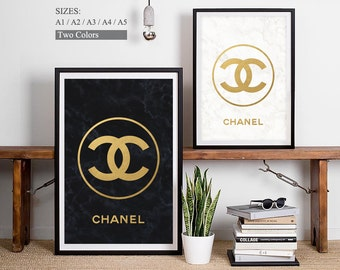 CHANEL Logo - Chanel Art Chanel Print Black Gold Print Gold Logo Chanel Poster Wall Art Decor Chanel Pictures Chanel Sign Chanel Bathroom