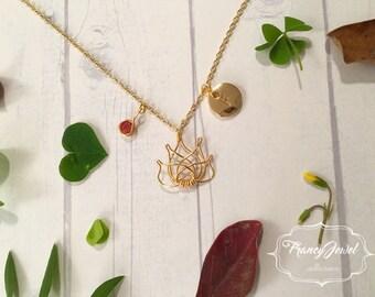 Gold lotus necklace, custom initial, lotus charm with crystal, tiny lotus flower necklace, lotus jewelry, lotus flower jewel, handmade jewel
