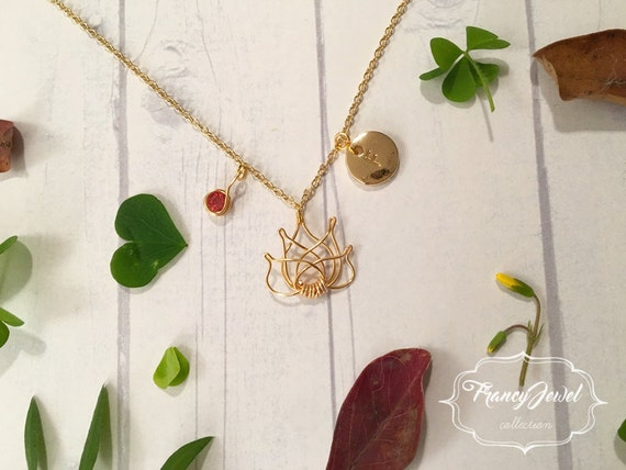 Gold lotus necklace, custom initial, lotus charm with crystal, tiny lotus flower necklace, lotus jewelry, lotus flower jewel, handmade jewel