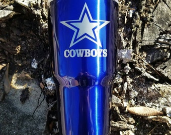 Dallas Cowboys 30 Oz makers mark tumbler blue laser engraved coffee cup