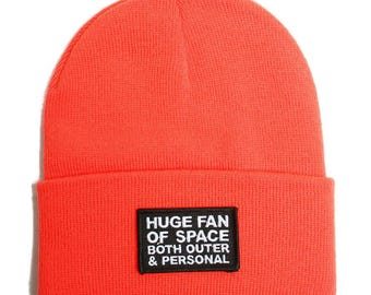 Huge Fan Of Space Both Outer And Personal Beanie - UFO Aliens Exist Los Angeles Hollywood - Black Toque Hat 420 Alienoid Head Warmer Cap
