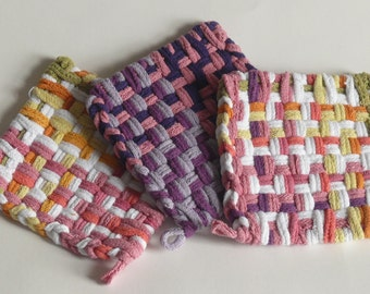 """Set of 3: Bright color, woven pot holders, hot pads - """"Double Peach & Plum"""""""