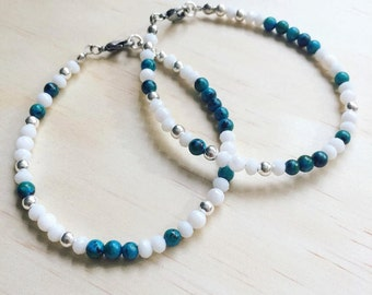 Olga | Aqua & Silver bracelet