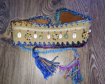 Leather sash belt