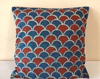 Blue & Red Pillow Cover/ Cotton Block print pillow/ eco friendly pillows/ decorative pillow/ cushion cover/ handmade pillow sham/ pillowcase