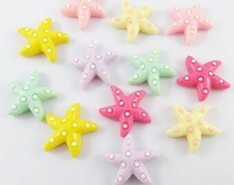 12pcs DIY Resin Starfish Cabochon Flat Back Cards Scrapbooking Hair Clips (CE057)