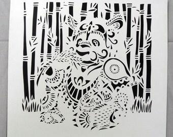 Panda: handmade papercut