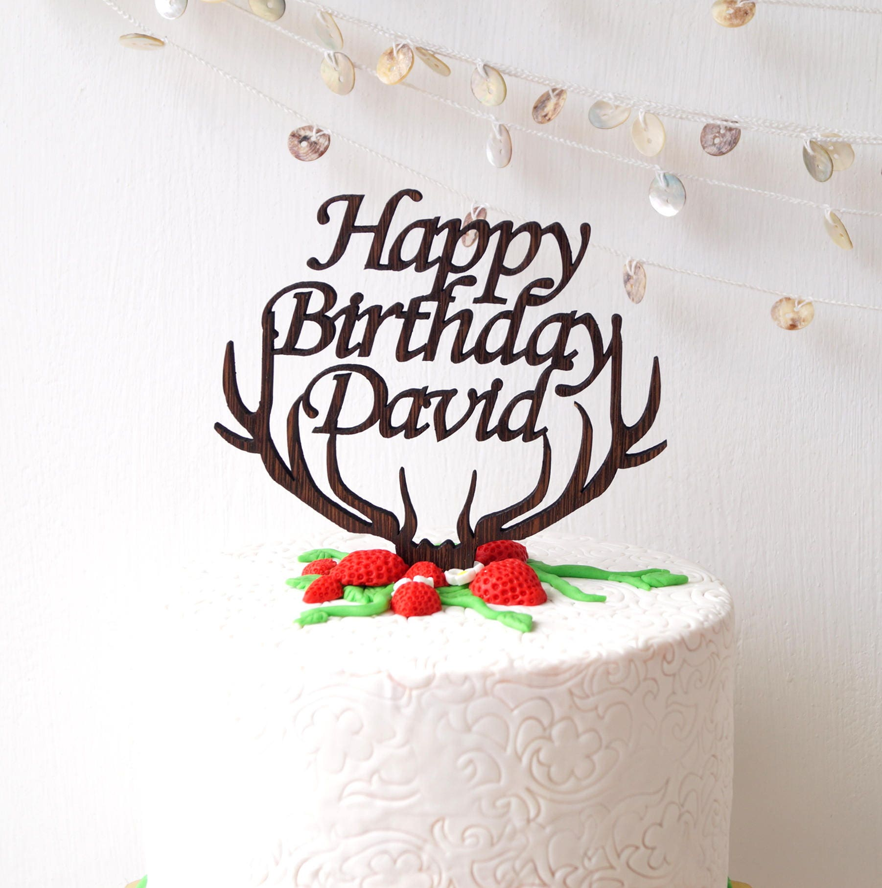Happy Birthday Cake Topper Party Antlers Wood