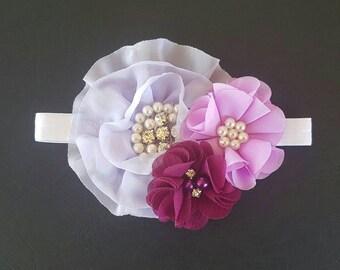 Girls flower headband | Headband | Baby headband | Purple headband