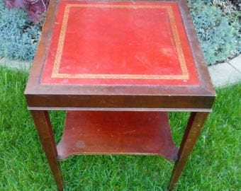 Delightful Vintage Leather Top Two Teir Table