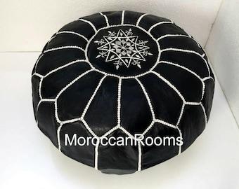 Moroccan black leather pouf