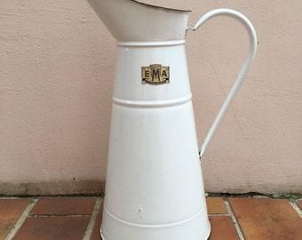 Vintage French Enamel pitcher jug water enameled white sticker