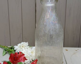 Bordens One Quart Milk Bottle, Milk Bottle, Vintage Milk Bottle, Dairy Bottle, Antique Milk Bottle