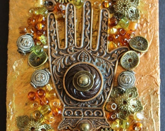 Hamsa Hand Steampunk Assemblage - Mini Art - 3D Collage - A Hand of Luck - Found Objects - Mixed Media - Luck - Hamsa - ArtCreationsbyVicky