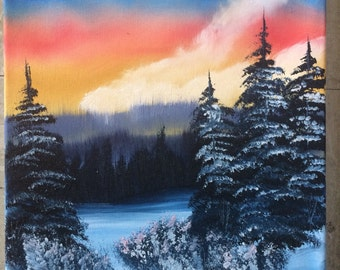 Sunrise in Winter Oil Painting