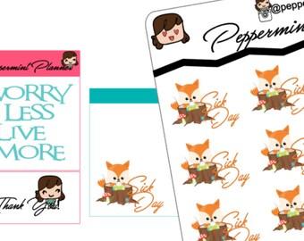 Sick Day Fox Sticker,  Planner stickers{#89}