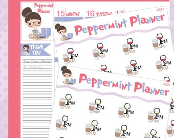 Am Coffee -- PM Wine Planner stickers #321