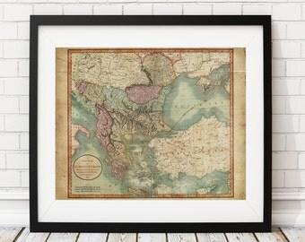 Turkey Map Print, Vintage Map Art, Antique Map, Wall Art, Old Maps, Map of Turkey in Europe, European, Turkish Art, Map Art, Map Poster