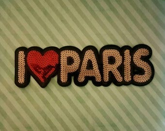 emroided i love paris sparkling sequins iron on patch