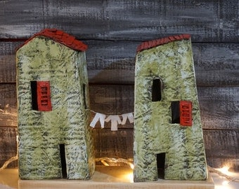 Little Paper Houses, New Home Gift, Love Grows in Little, Recycled Paper, Paper Sculpture, Miniature Houses, Rustic Home Decor, Wedding Gift