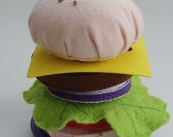 Felt Hamburger Sensory Toy Food felt Decor Kitchen Children's Felt Educational Toys tactile Felt Hamburger PLAY FOOD Felt Hamburge