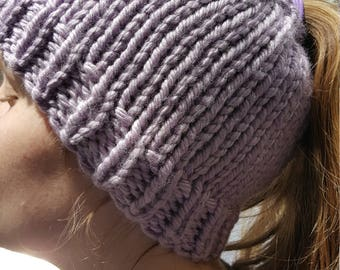 Hand Made, Messy Bun, Ponytail, Chunky, Hand Knit Beanie Hat in Lavender
