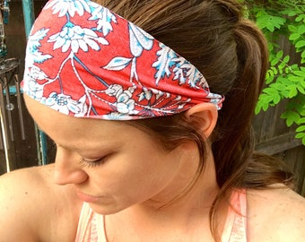 Yoga/Fitness/Running Wide Headband-CORAL FLORAL