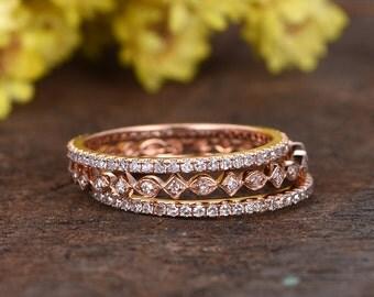 3pcs diamond wedding rings,Milgrain wedding band set,full eternity diamon bands,miro pave setting,deco design promise ring,gift for her