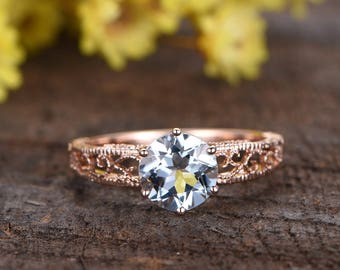 8mm round cut VS natural aquamarine engagement ring,engraving floral band,14K rose gold ring,promise ring,wedding band,anniversary ring