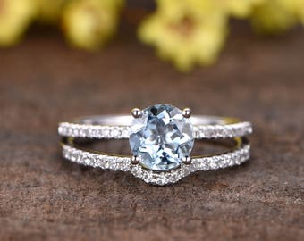 7mm natural blue aquamarine ring set,2pcs Reco engagement ring set,14k white gold wedding band,Curved band,SI diamond,bridal promise ring