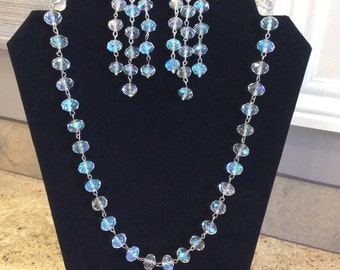 24' Swarovski Crystal Clear AB Necklace and FREE Matching Earrings