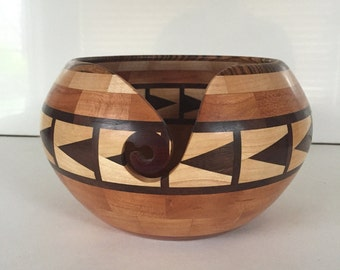 Segmented wooden yarn bowl