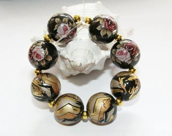 Tensha beads, Japanese beads, black flowers, black with gold design, 13 mm