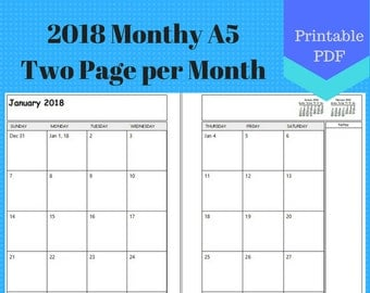 2018 A5 Two Page Per Month, Monthly Calendar Pages, Planner, Discbound, Jr, Half, 2 page per month