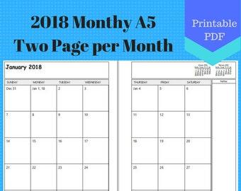 two months calendar 2018