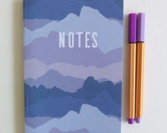 Patterned A6 Notebook - Lined Paper - Purple - Pocket Notebook - Misty Mountains - Notes - Back to School
