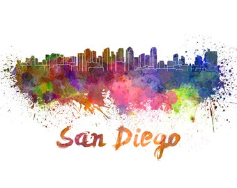 San Diego skyline watercolor canvas,  San Diego Canvas, Sab Diego wall art, San Diego Canvas Wall Art, San Diego watercolor wall art canvas