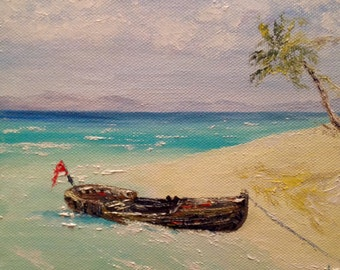 Small Oil Painting Canvas Seascape MiniaturePalette Knife Painting Ocean Modern Painting Boat Painting Sea Painting Ukrainian Impressionism