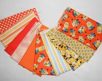 Minion Fabric Fat Quarter Bundle 10pc. -Packed Minions/stripes/orange/yellow/blue/orange polka dots/graphic minion (#O235)