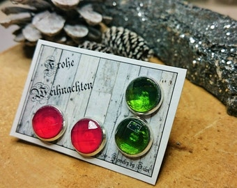 Resin - set of 2 set Stud Earrings in red/green faceted (153-154)-resin