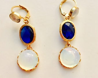 Sapphire Moonstone 24kt Gold Plated Fashion Earrings