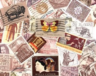 45 Brown Vintage Postage Stamps