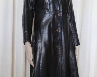 stunning black vintage retro long leather coat / retro gorgeous vintage long black leather coat size small bust 36 Canada