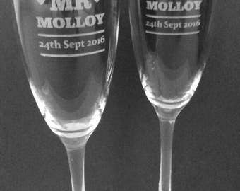 Personalised Wedding Champagne Flutes (2 pk)