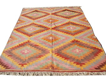 "Vintage Kilim Rug,Hand Made Turkish Wool Area Rug,Kilim,Carpet Rug ,Turkish Kilim, Rug Zig Zag Rug Carpet ,Diamond Kelim, 84,5"" x 101 inches"