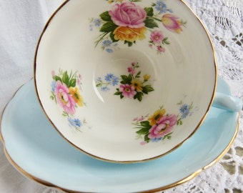 Royal Stafford Bone China Teacup and Saucer Blue with Pink and Yellow Roses Pattern