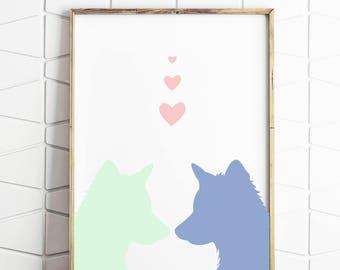 baby animal, modern art, puppy art, dog print, purple and mint, baby animal decor