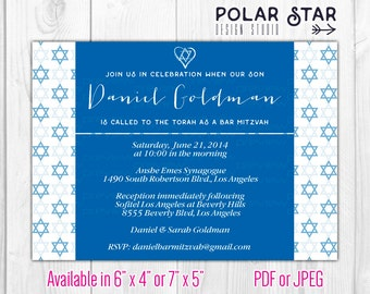Bar Mitzvah / Bat Mitzvah - Custom Modern Invitation - Printable Digital File (060)