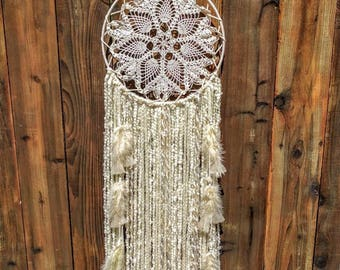 Angel Wings - Large Dreamcatcher wall hanging in soft cream and beige.